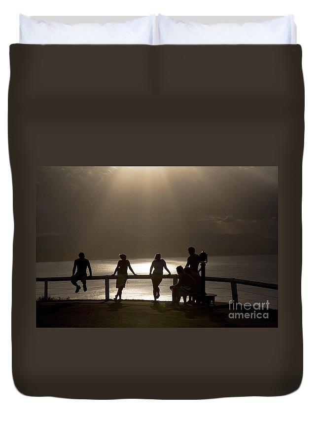 Byron Bay Lighthouse Silhouette Sunset Rays Duvet Cover featuring the photograph Byron Bay Lighthouse by Sheila Smart Fine Art Photography