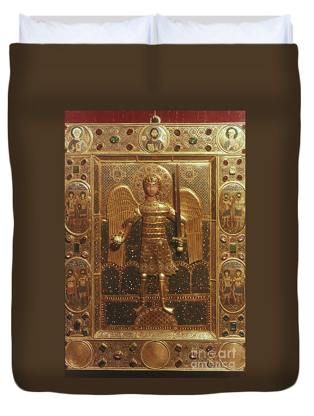 Art Duvet Cover featuring the photograph Byzantine Art: St. Michael by Granger