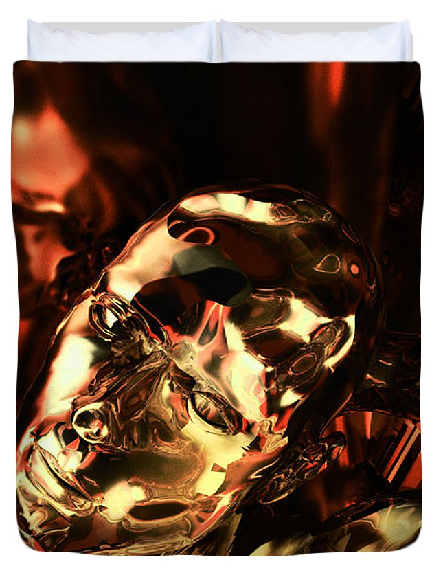 Android Duvet Cover featuring the digital art The Thinking Golden Robot by Max Steinwald