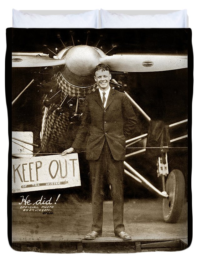 C. A. Lindbergh Duvet Cover featuring the photograph Charles A. Lindbergh And Spirit Of St. Louis 1927 by California Views Archives Mr Pat Hathaway Archives
