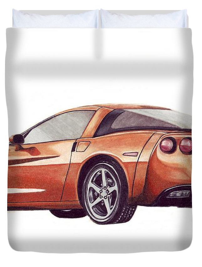 Corvette Duvet Cover featuring the drawing C6 by Kristen Wesch