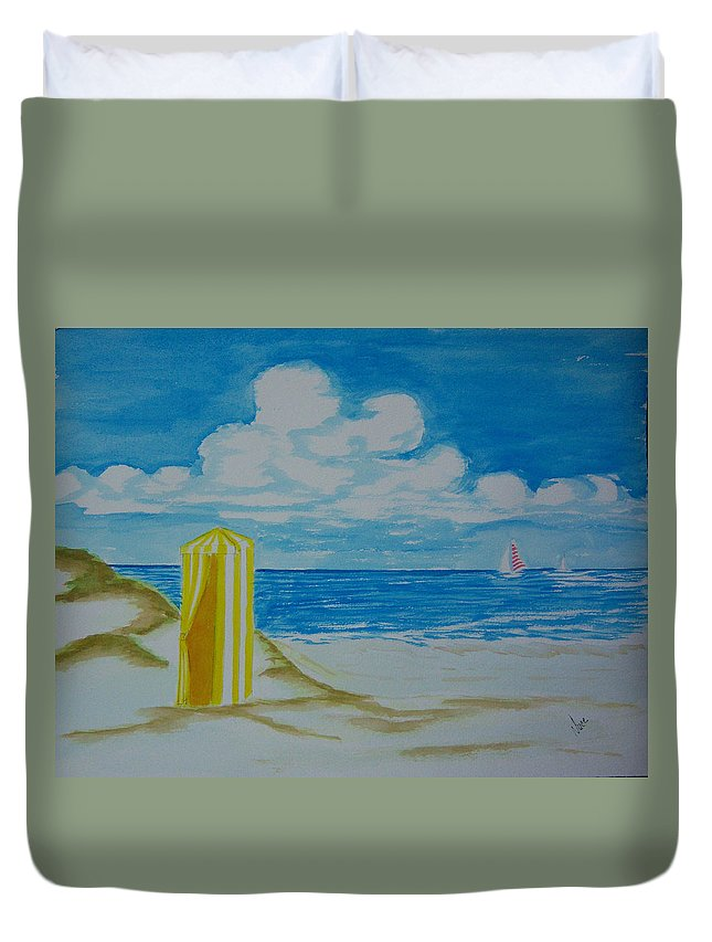 Beach Duvet Cover featuring the painting Cabana On The Beach by Nancy Nuce