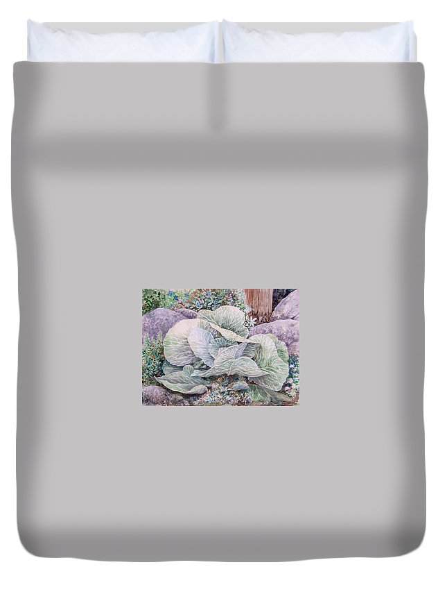 Leaves Duvet Cover featuring the painting Cabbage Head by Valerie Meotti