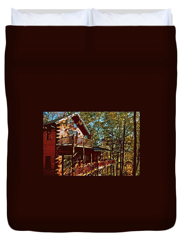 Architecture Duvet Cover featuring the digital art Cabin Cutout by Dale Chapel