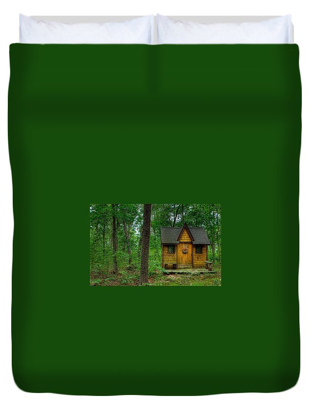 Cabin Duvet Cover featuring the digital art Cabin by Dorothy Binder