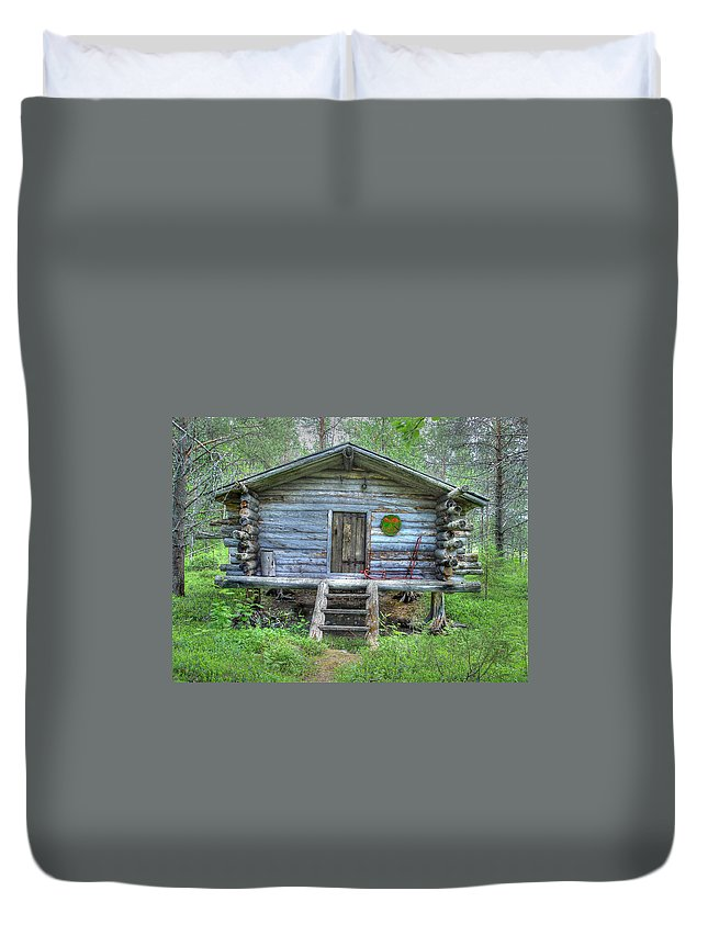 Rustic Duvet Cover featuring the photograph Cabin In Lapland Forest by Merja Waters