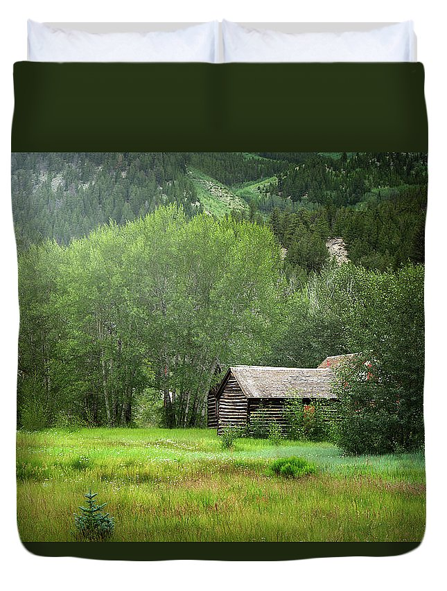 Aspens Duvet Cover featuring the photograph Cabin In The Aspens by Alisha Jurgens