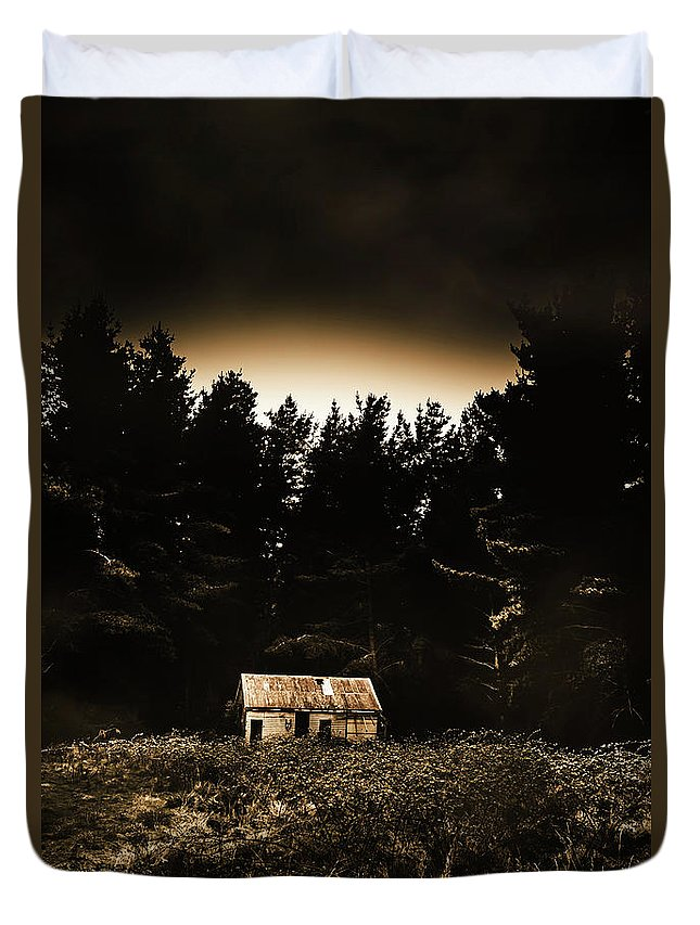 Woods Duvet Cover featuring the photograph Cabin In The Woodlands by Jorgo Photography - Wall Art Gallery