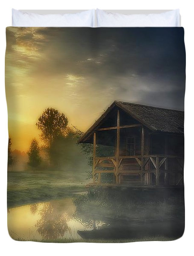 Photography Duvet Cover featuring the photograph Cabin Sunrise by Dawn Van Doorn