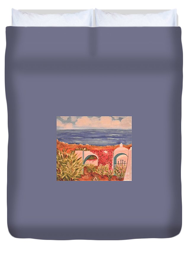 Cabo San Lucas Duvet Cover featuring the painting Cabo Garden by Laurie Morgan