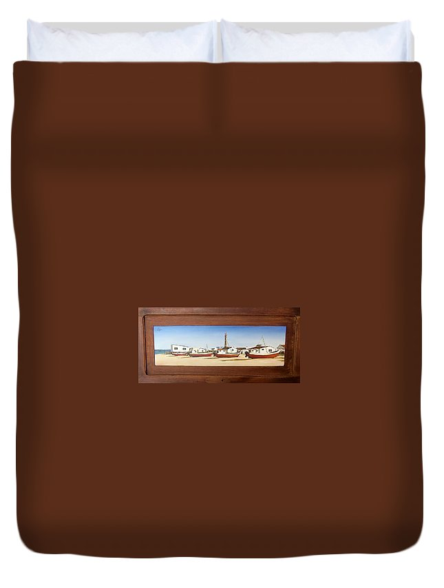 Landscape Seascape Uruguay Beach Boats Sea Lighthouse Duvet Cover featuring the painting Cabo Polonio 2 by Natalia Tejera