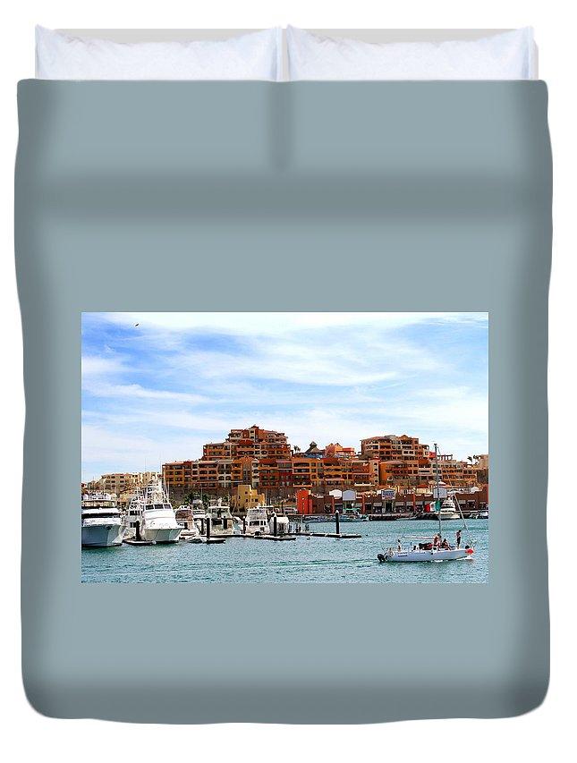 Marina's Duvet Cover featuring the photograph Cabo San Lucas Marina by Robert McKinstry