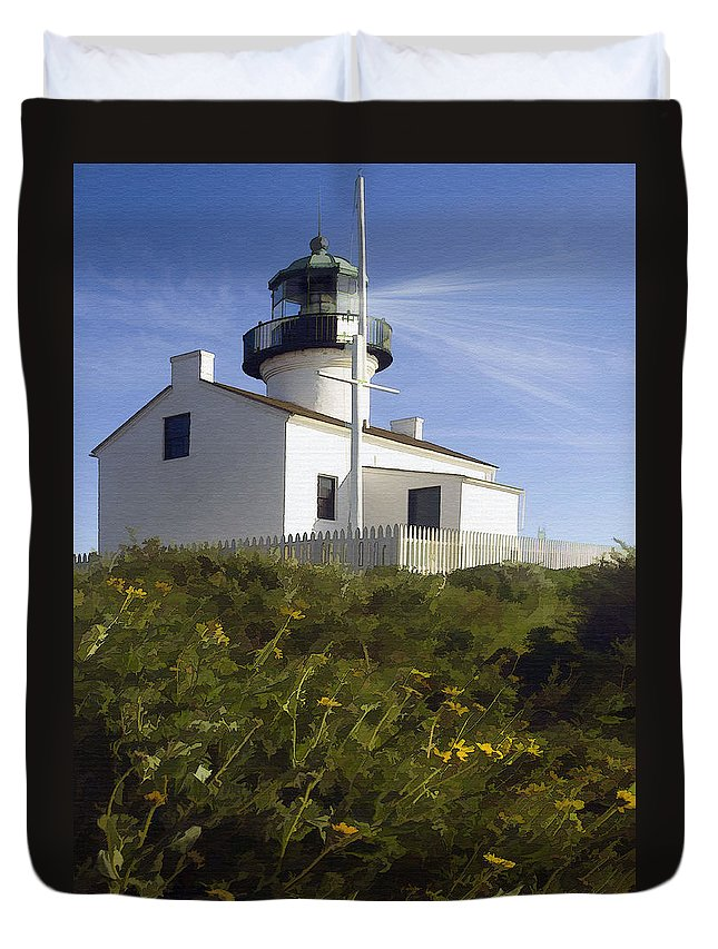 Lighthouse Duvet Cover featuring the digital art Cabrillo Lighthouse by Sharon Foster