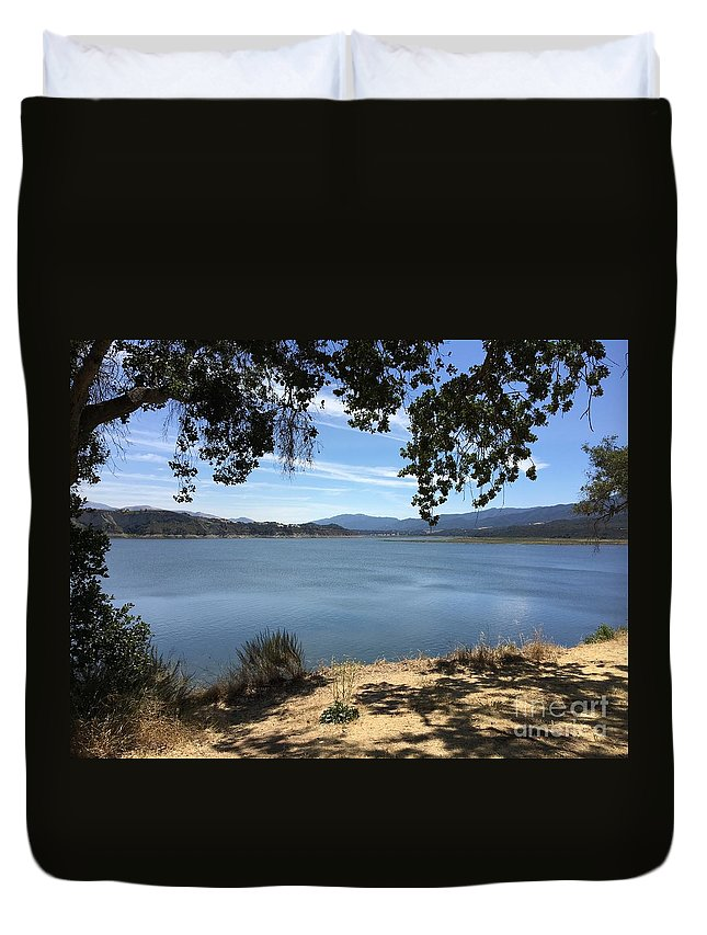 Landscape Duvet Cover featuring the photograph Cachuma Lake by Jane Stanley