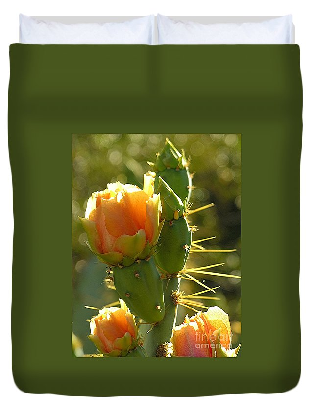 Prickle Pear Cactus Duvet Cover featuring the digital art Cactus Buds by Diane Greco-Lesser