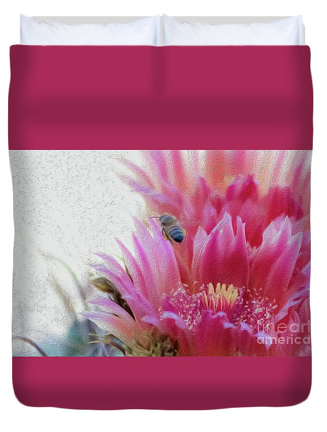 Cactus Flower Duvet Cover featuring the photograph Cactus Flower And A Busy Bee by Amy Sorvillo