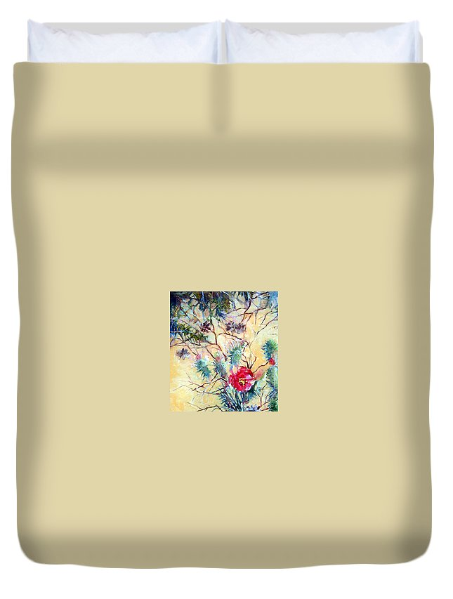 Flower Duvet Cover featuring the painting Cactus Flower by Linda Shackelford