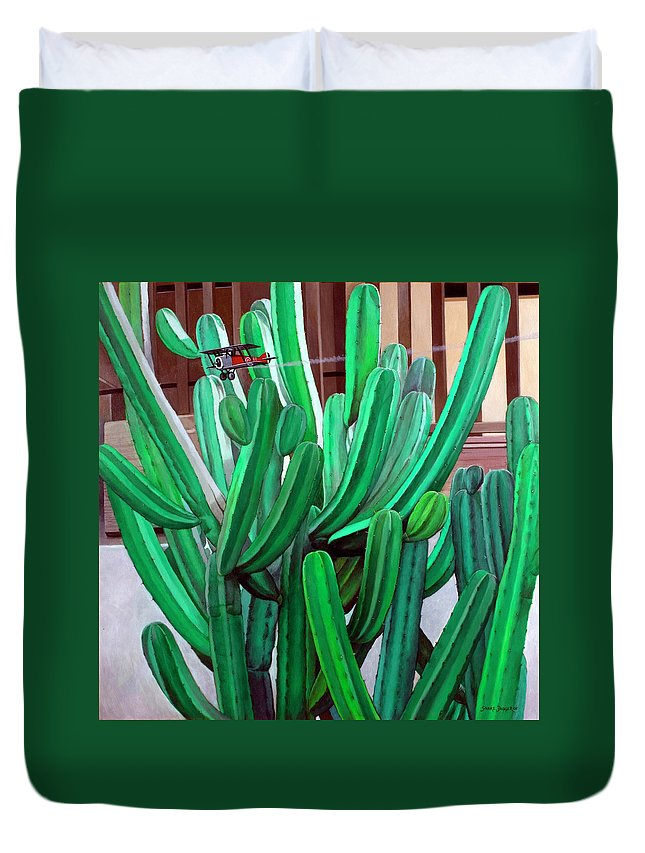 Landscape Duvet Cover featuring the painting Cactus Fly By by Snake Jagger