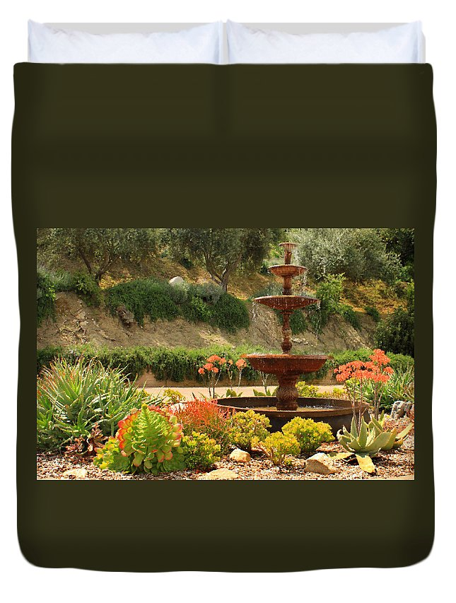 Floral Duvet Cover featuring the photograph Cactus Fountain by James Eddy