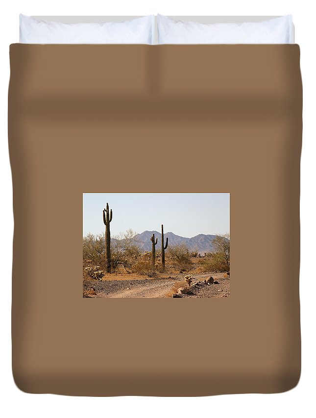 Desert Duvet Cover featuring the photograph Cactus Line Dirt Road by Bill Mollet