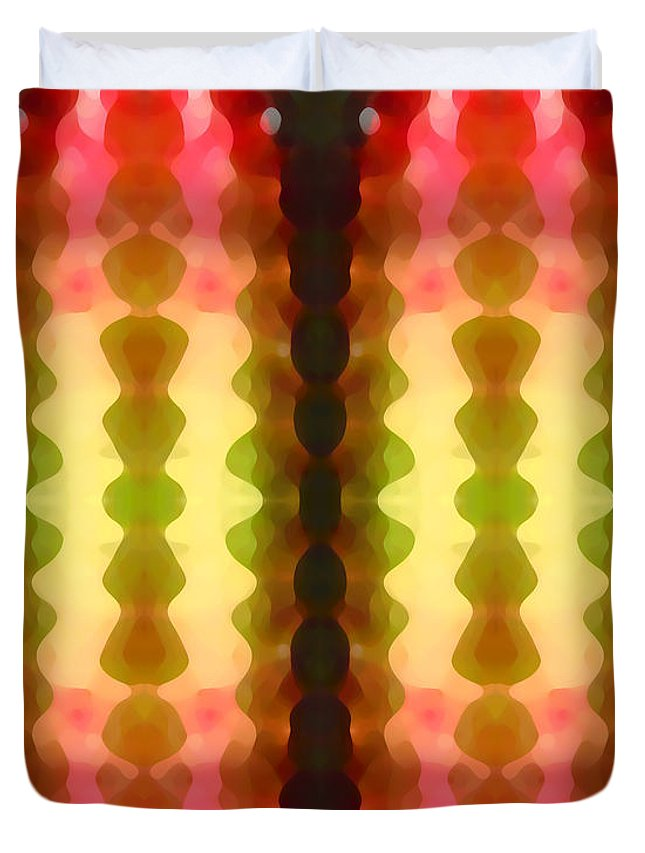 Abstract Painting Duvet Cover featuring the digital art Cactus Vibrations 1 by Amy Vangsgard