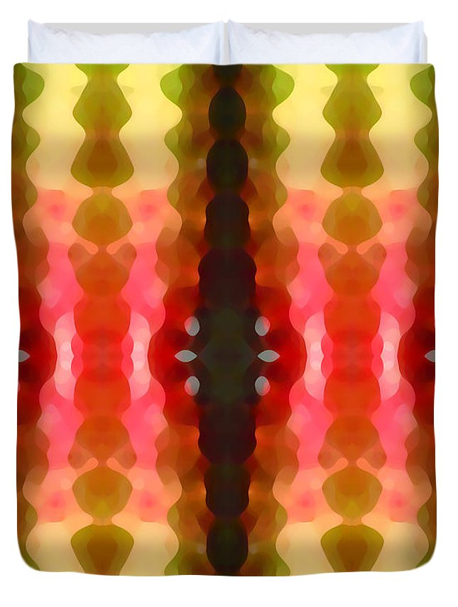 Abstract Duvet Cover featuring the painting Cactus Vibrations 2 by Amy Vangsgard
