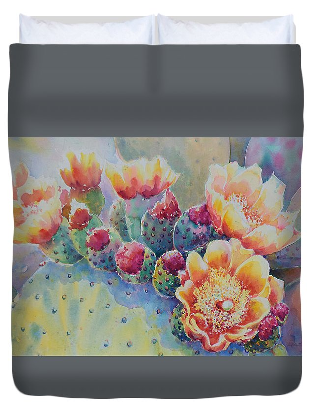 Prickley Pear Duvet Cover featuring the painting Cactus Flowers by Victoria Wills