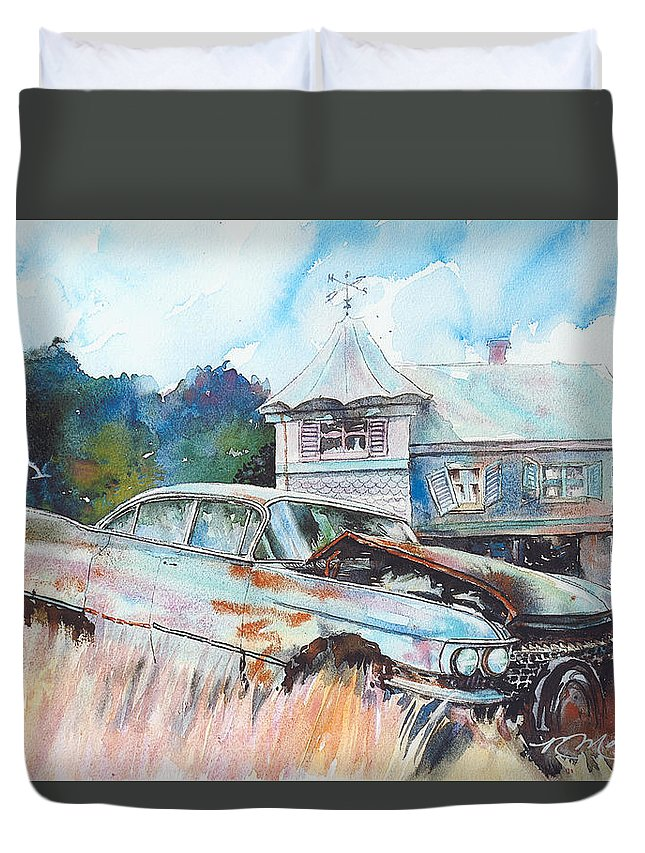 Cadillac Duvet Cover featuring the painting Caddy Sliding Down the Slope by Ron Morrison