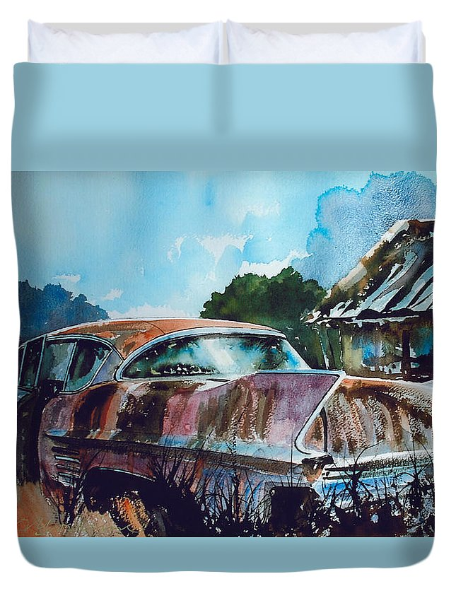 Caddy Duvet Cover featuring the painting Caddy Subsiding by Ron Morrison