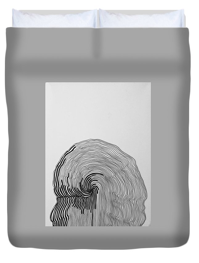 Black And White Duvet Cover featuring the drawing Cadence by Matthew Clouse