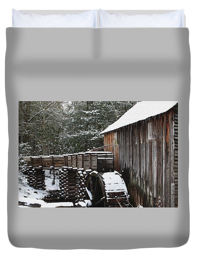 Smoky Mountains Duvet Cover featuring the photograph Cades Cove Mill II by Margie Wildblood