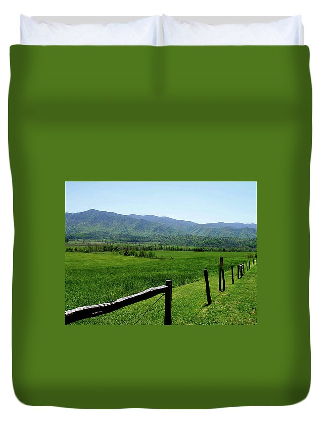 Cades Cove Duvet Cover featuring the photograph Cades Cove View by Nancy Mueller