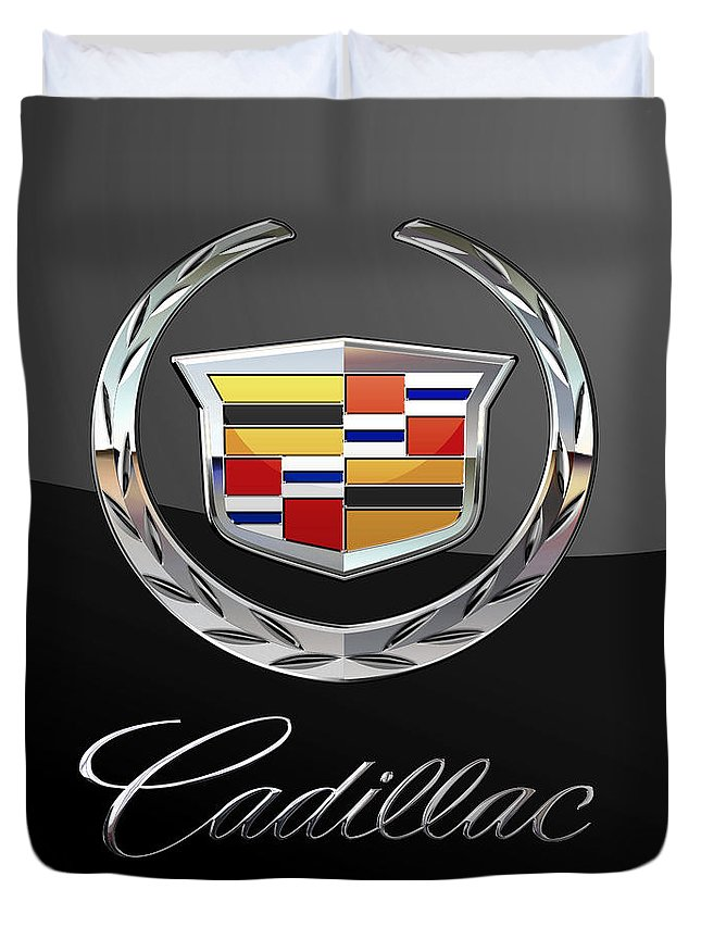 'wheels Of Fortune' By Serge Averbukh Duvet Cover featuring the photograph Cadillac - 3 D Badge On Black by Serge Averbukh