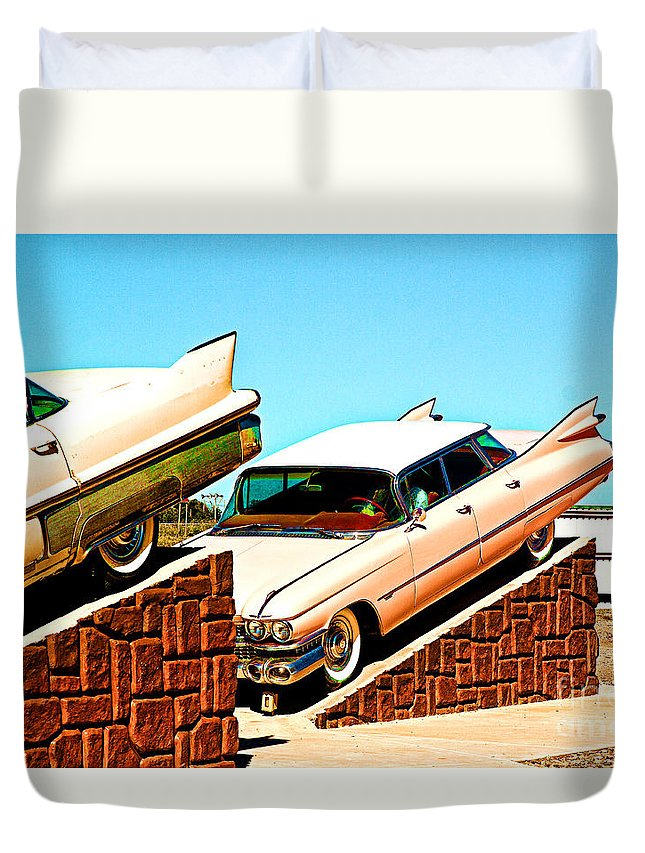 Cadillac Farm Duvet Cover featuring the photograph Cadillac by Christian Hallweger