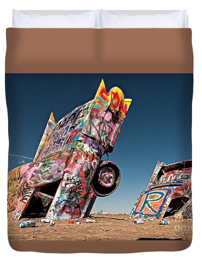 Cadillac Ranch Duvet Cover featuring the photograph Cadillac Ranch Amarillo by Christian Hallweger