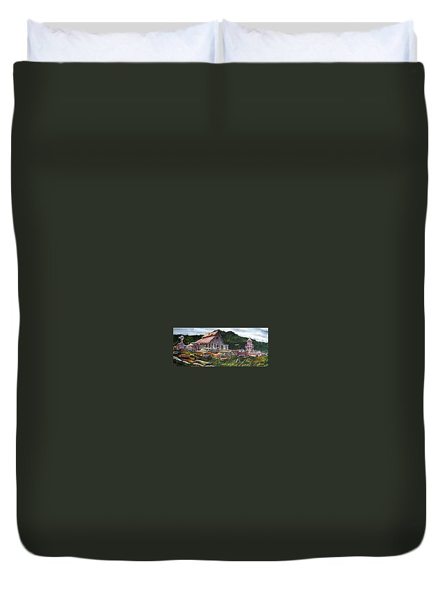 Cadillacs Duvet Cover featuring the painting Cadillac Ranch by Ron Morrison