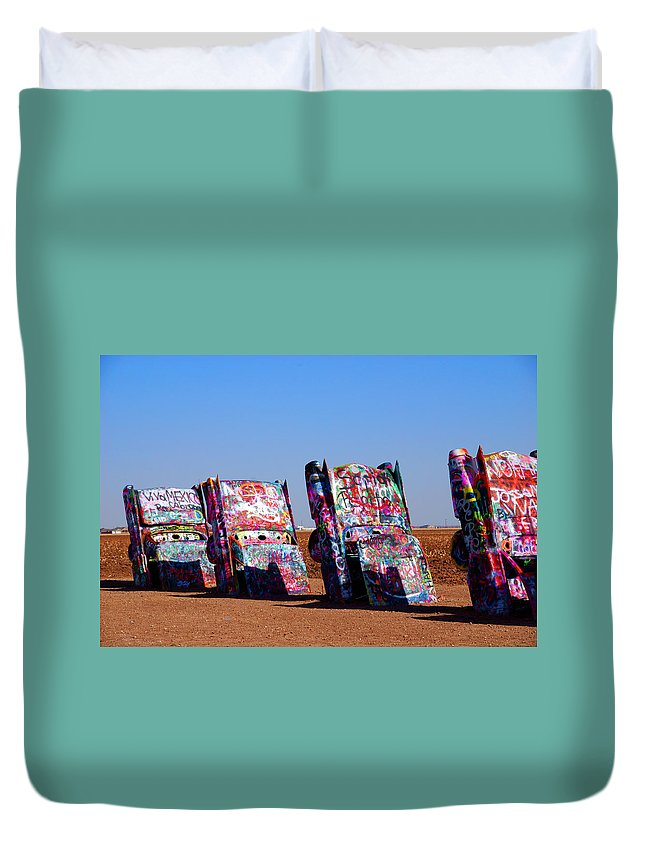 Photography Duvet Cover featuring the photograph Cadillac Ranch by Susanne Van Hulst