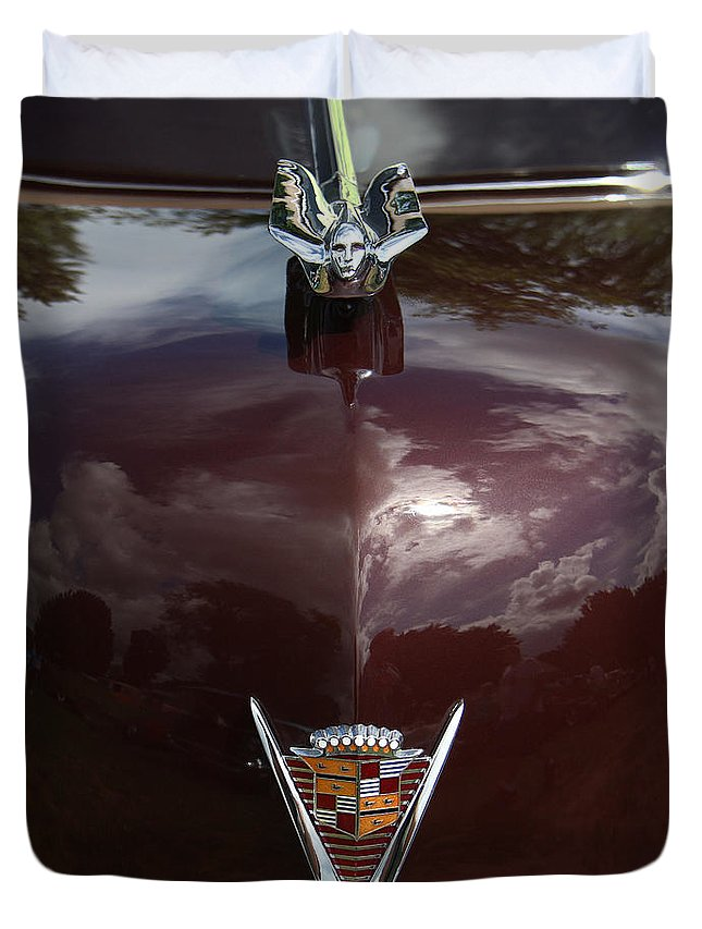 Antique Cars Duvet Cover featuring the photograph 1949 Cadillac La Salle - Hood Ornaments by Yvonne Wright