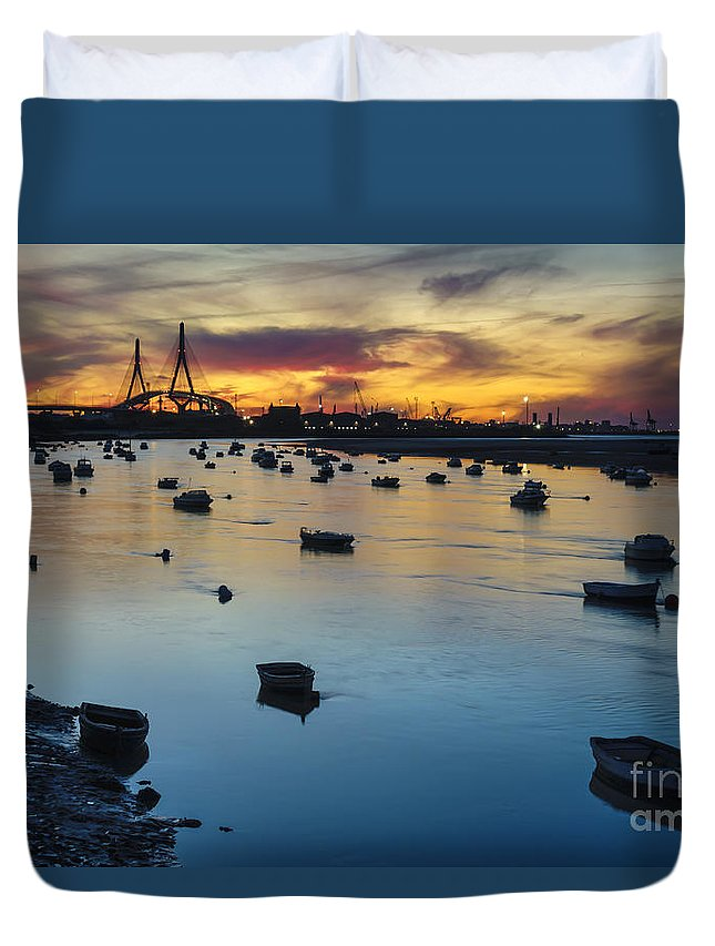 Andalucia Duvet Cover featuring the photograph Cadiz Bay From San Pedro River Neighborhood Cadiz Spain by Pablo Avanzini