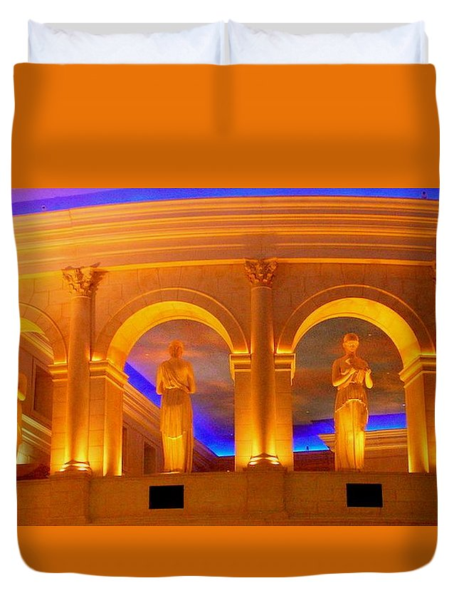 Statues Duvet Cover featuring the photograph Caesar's Lobby - A C by Arlane Crump