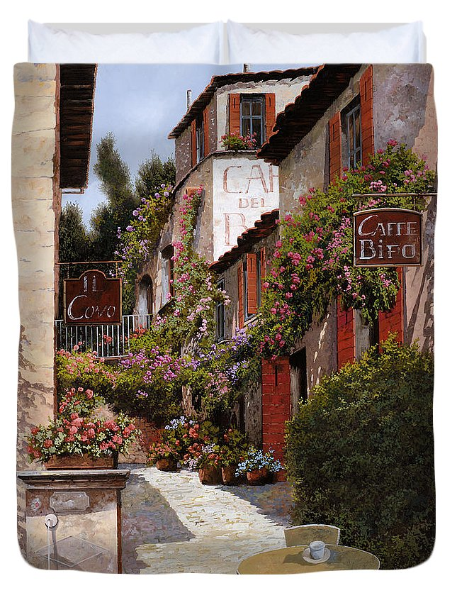 Cafe Duvet Cover featuring the painting Cafe Bifo by Guido Borelli