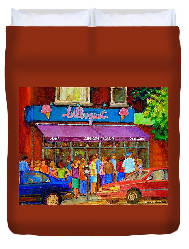 Cafe Bilboquet Duvet Cover featuring the painting Cafe Bilboquet Ice Cream Delight by Carole Spandau