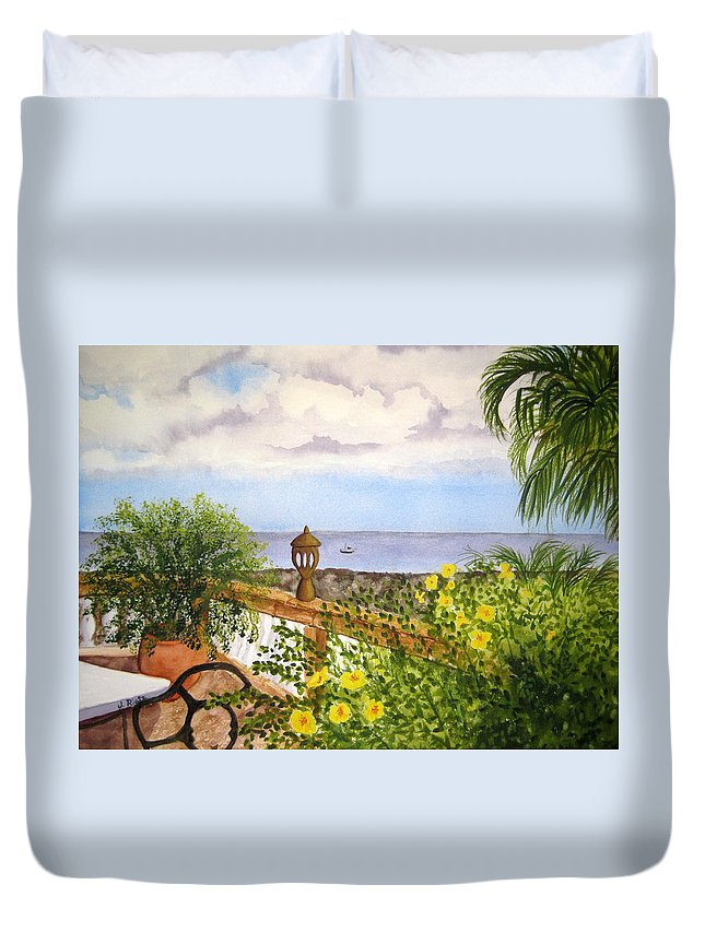 Water Duvet Cover featuring the painting Cafe By The Sea by Julia RIETZ