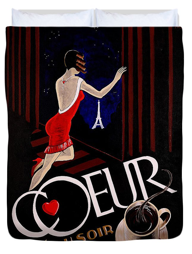 Cafe Duvet Cover featuring the painting Cafe Coeur 1 by Thom Reaves