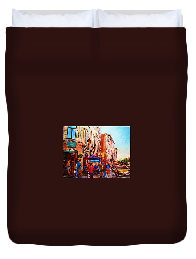 Montreal Duvet Cover featuring the painting Cafe Creme by Carole Spandau
