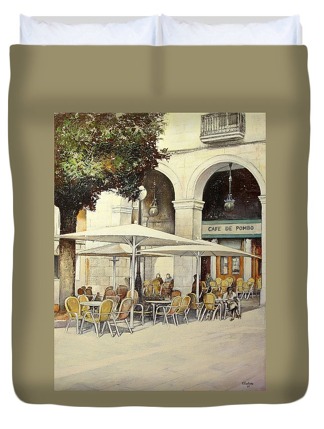 Cafe Duvet Cover featuring the painting Cafe de Pombo-Santander by Tomas Castano