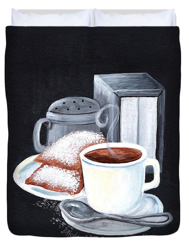 New Orleans Duvet Cover featuring the painting Cafe Du Monde On Black by Elaine Hodges