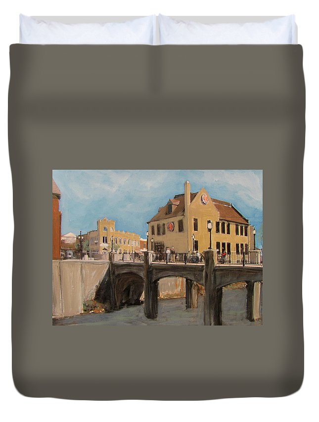 Milwaukee Duvet Cover featuring the mixed media Cafe Hollander 1 by Anita Burgermeister