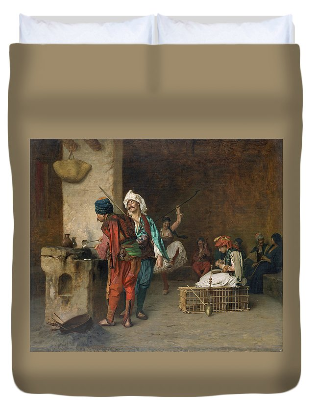 19th Century Art Duvet Cover featuring the painting Cafe House, Cairo by Jean-Leon Gerome