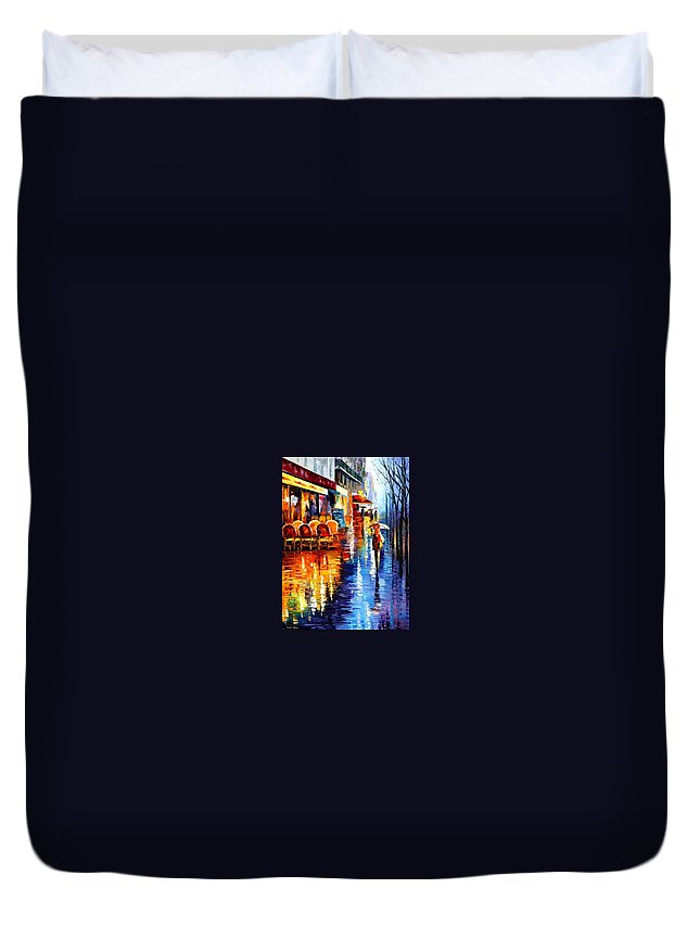 Afremov Duvet Cover featuring the painting Cafe In Paris by Leonid Afremov